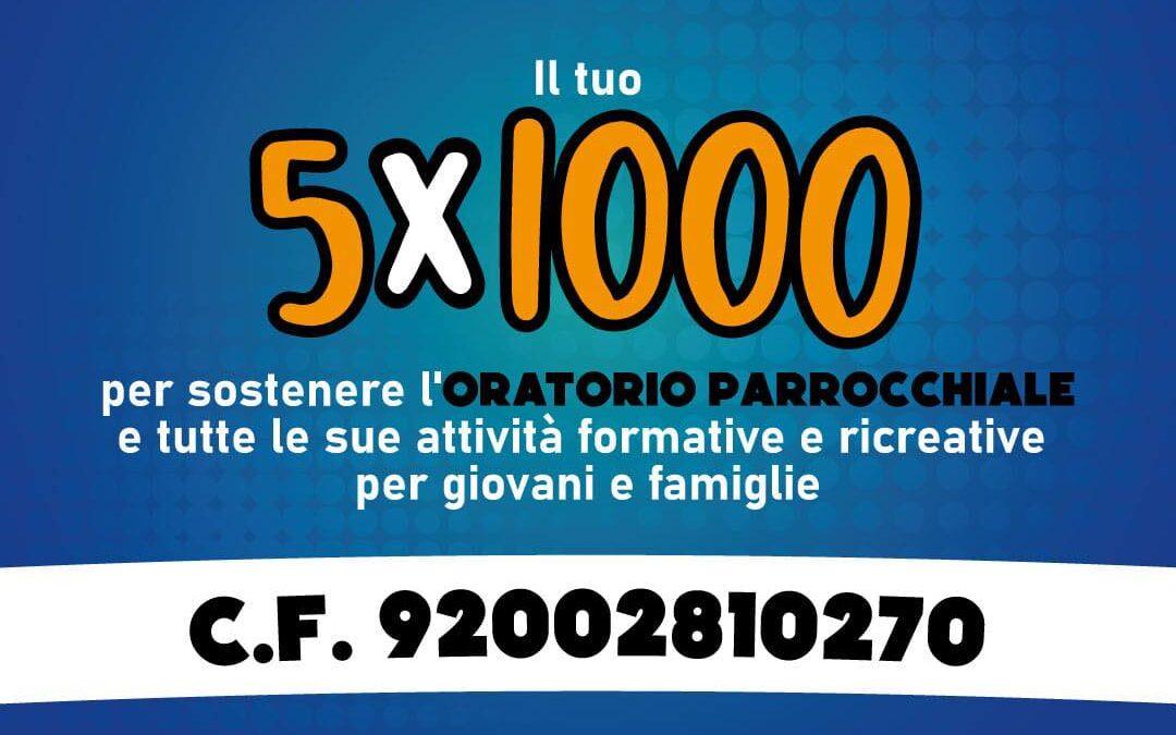 5 per MILLE 2021 per l'Oratorio – C.F. 92002810270